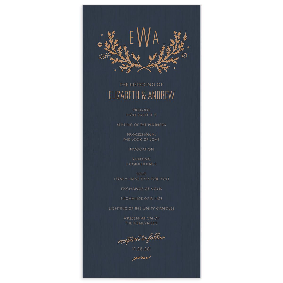 rustic chic wedding programs in navy