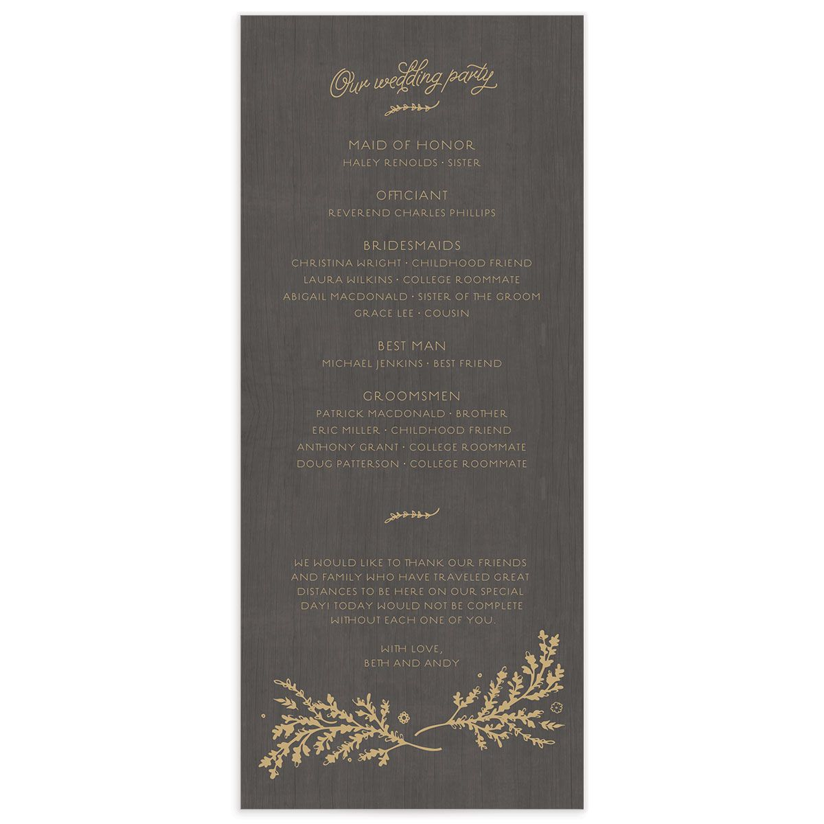 rustic chic wedding programs in gold back