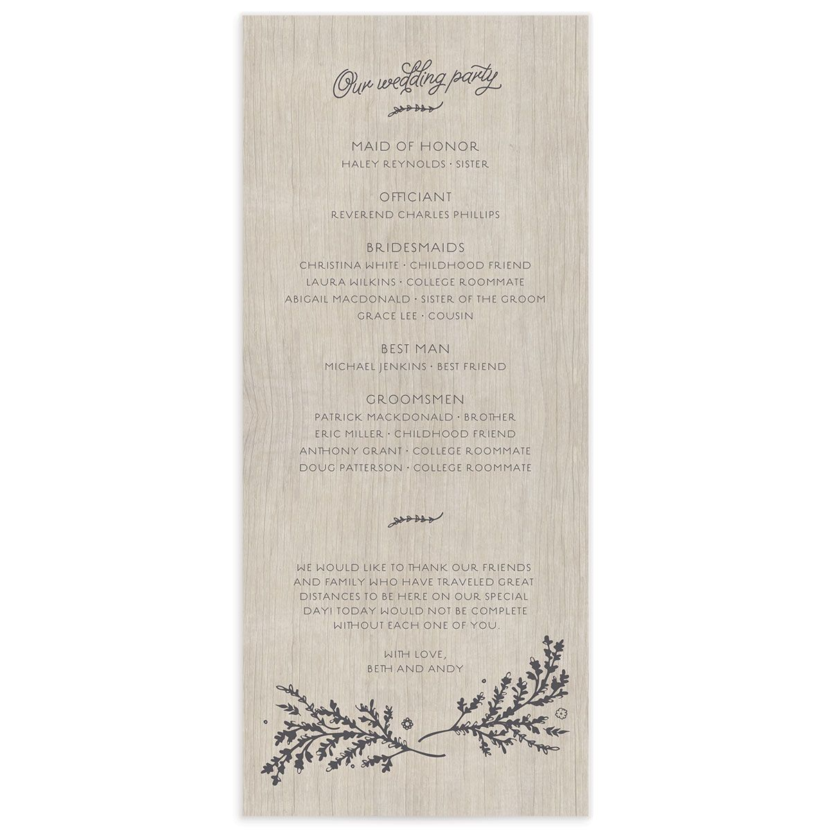 rustic chic wedding programs in grey back