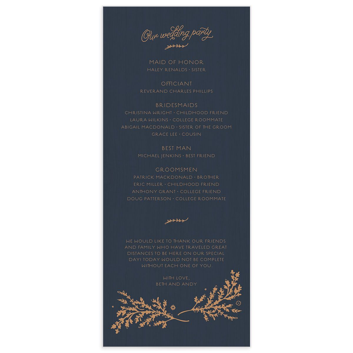 rustic chic wedding programs in navy back