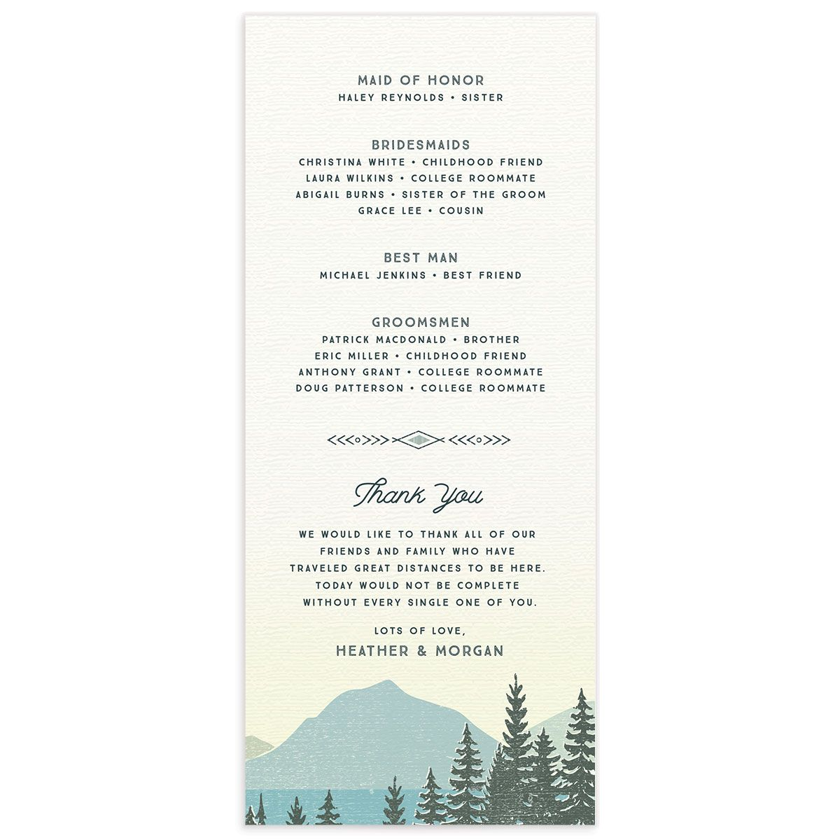 Vintage Mountain wedding programs back
