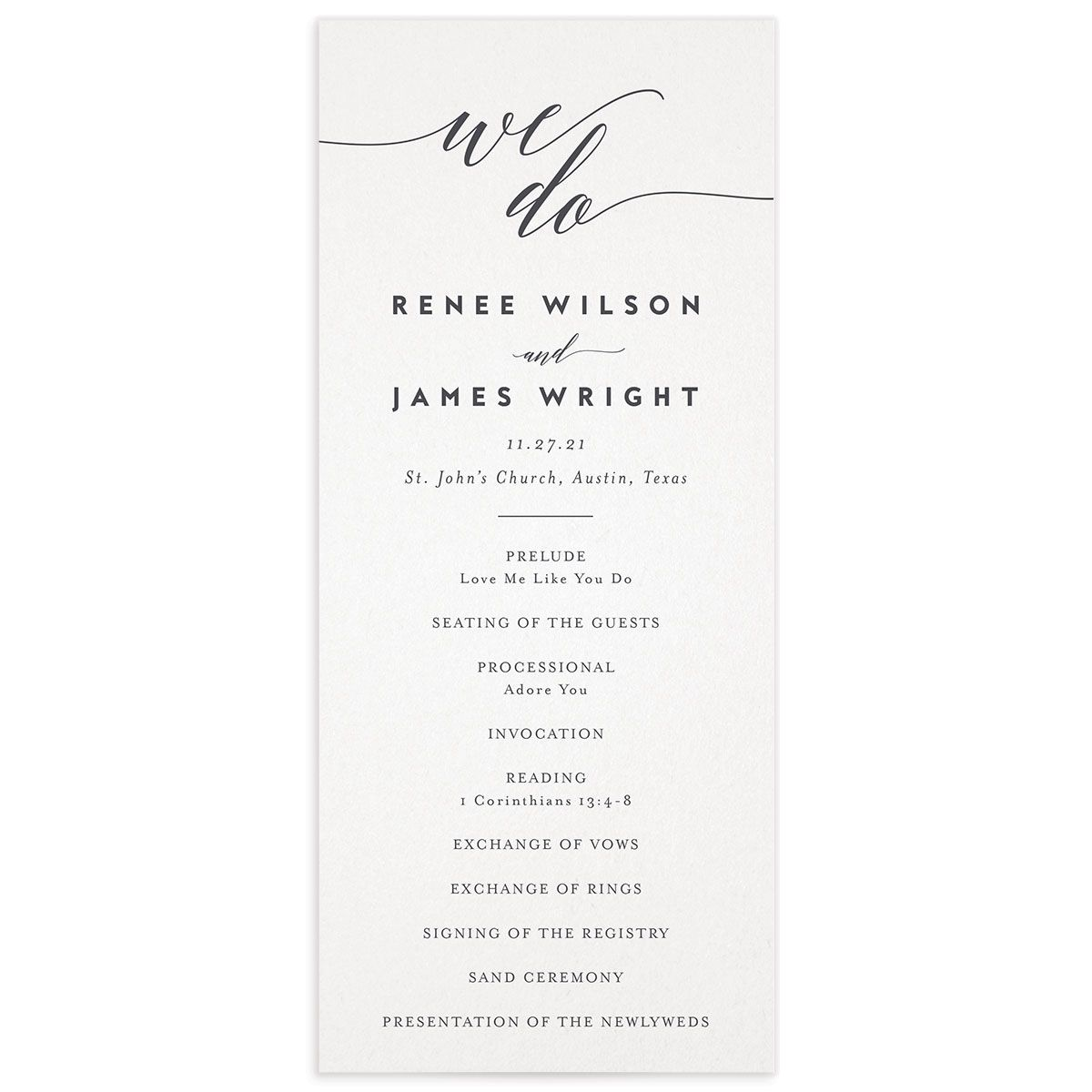 We Do Wedding Programs front in grey