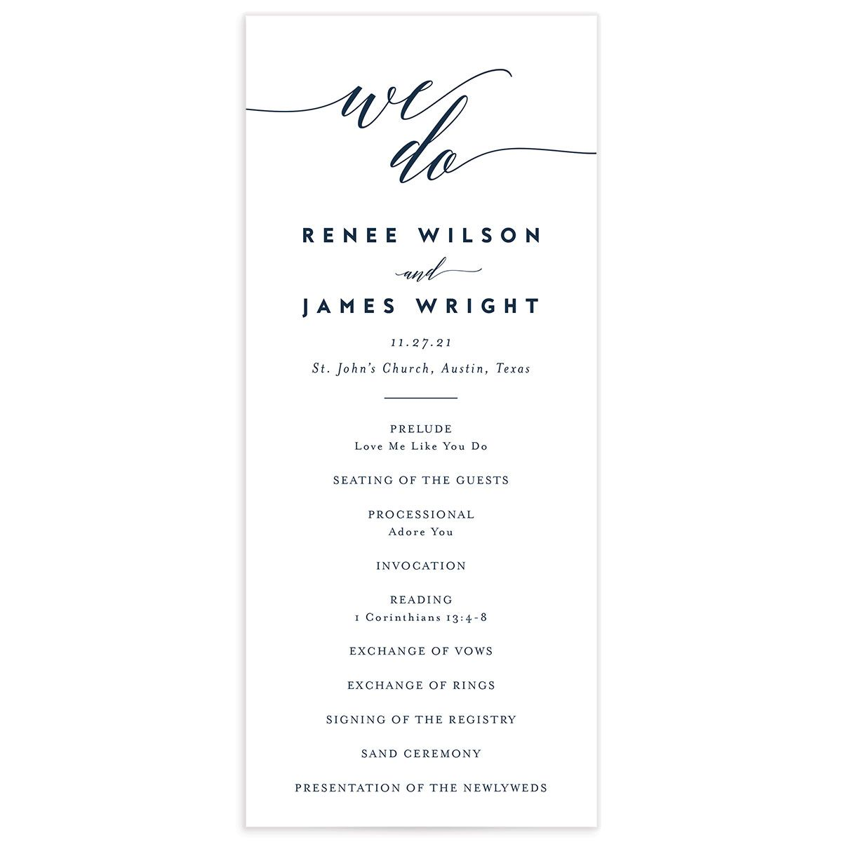 We Do Wedding Programs front in navy