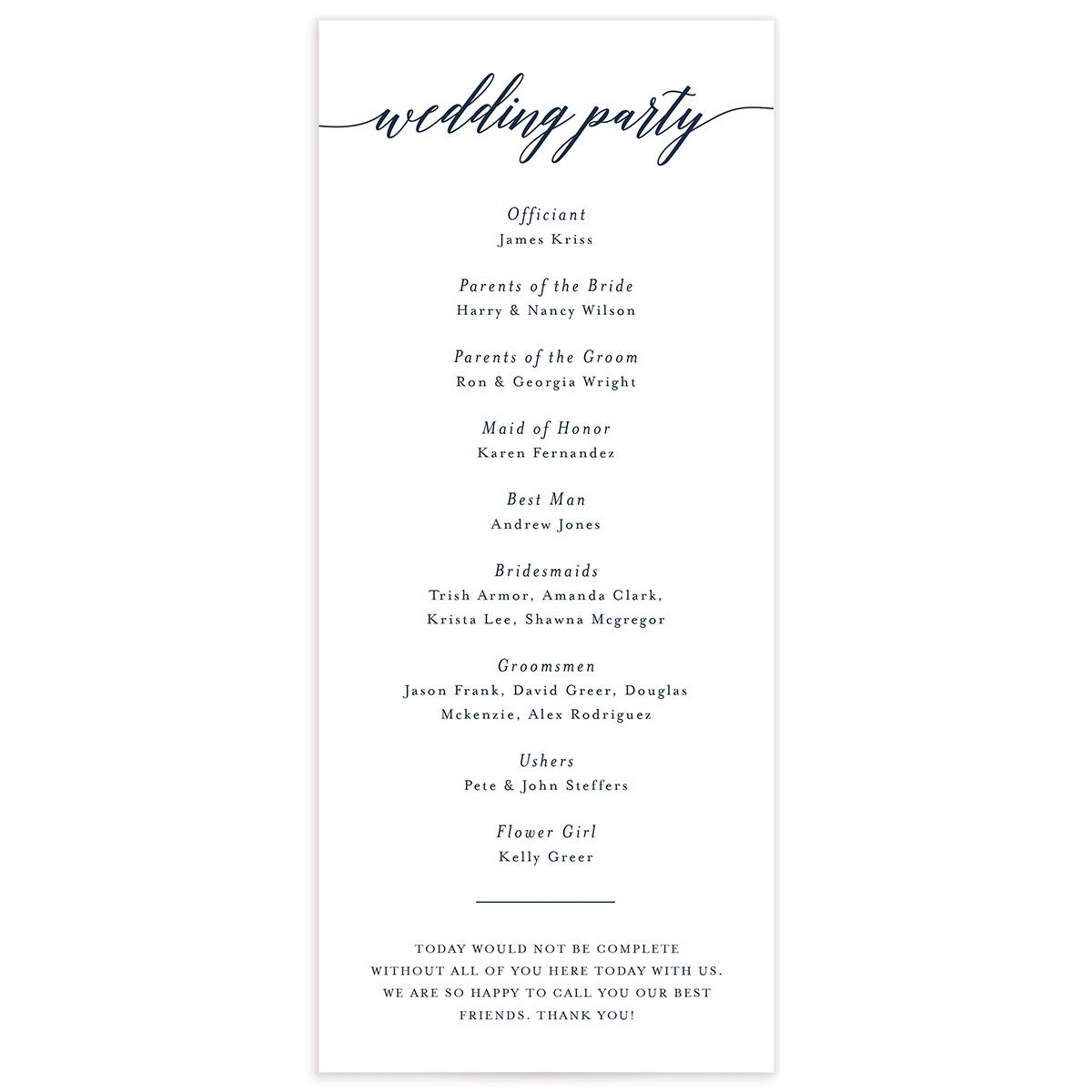 We Do Wedding Programs back in navy