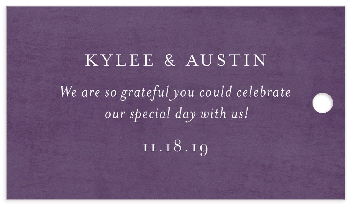 leafy frame wedding favor gift tags in purple back