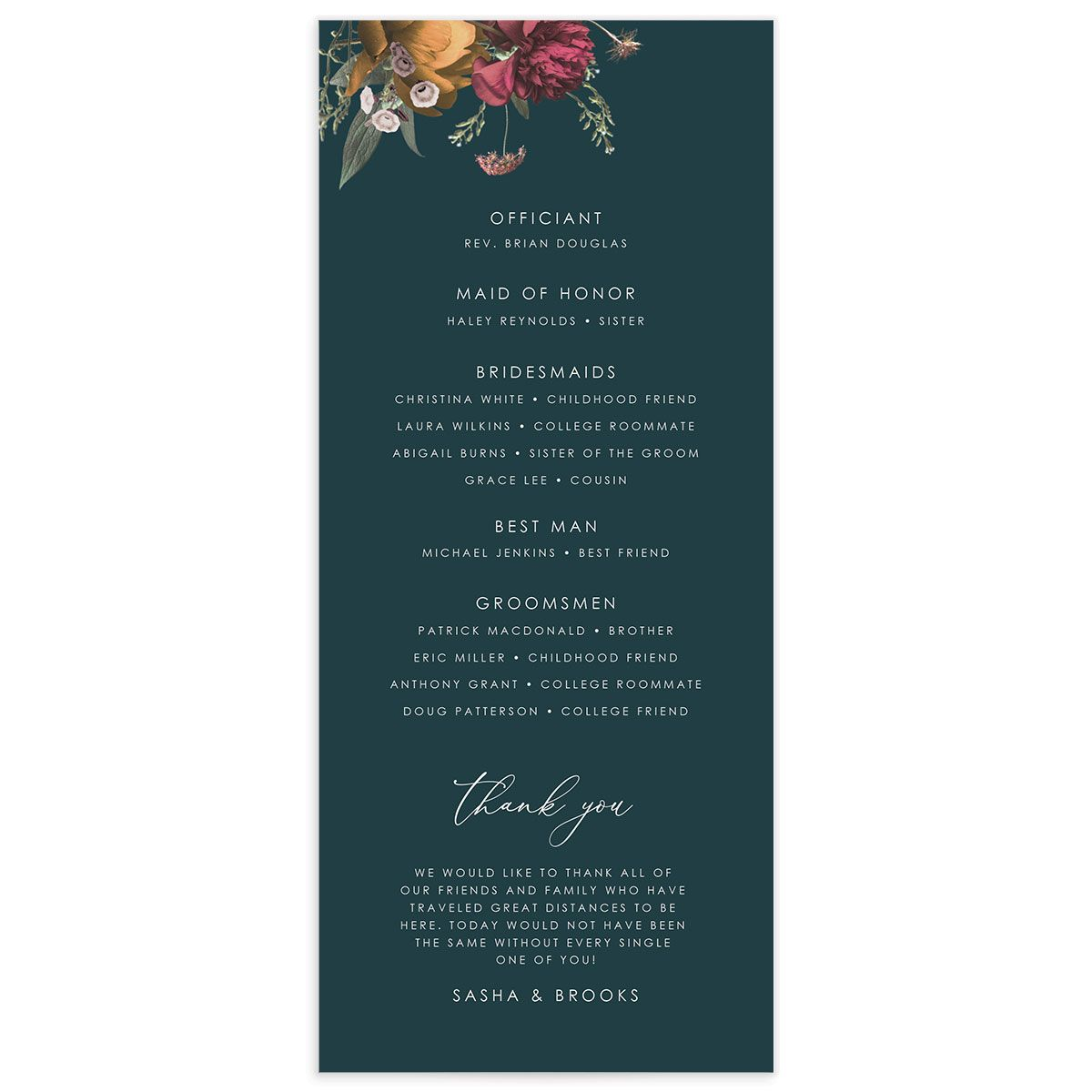 Blooming Botanical wedding program back