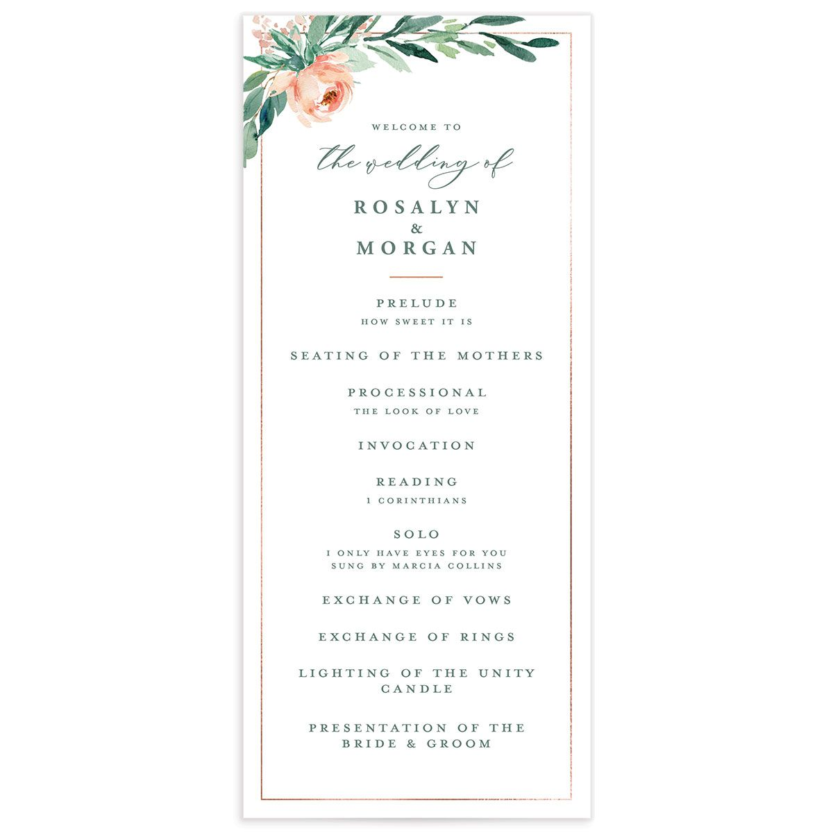 Gilded Botanical wedding program front