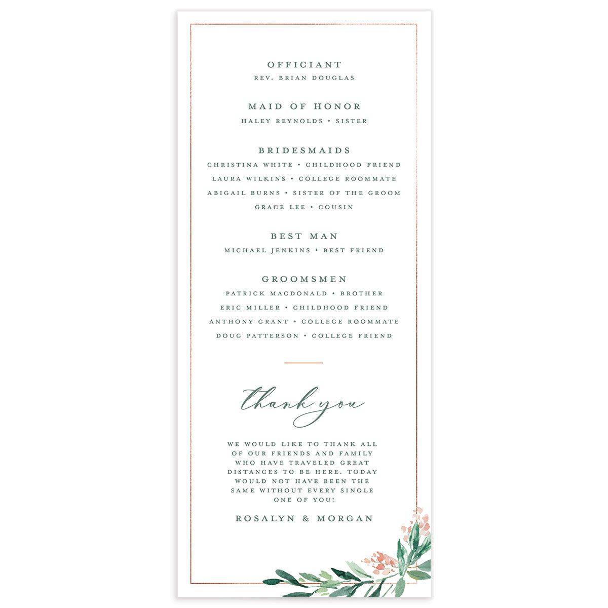 Gilded Botanical wedding program back