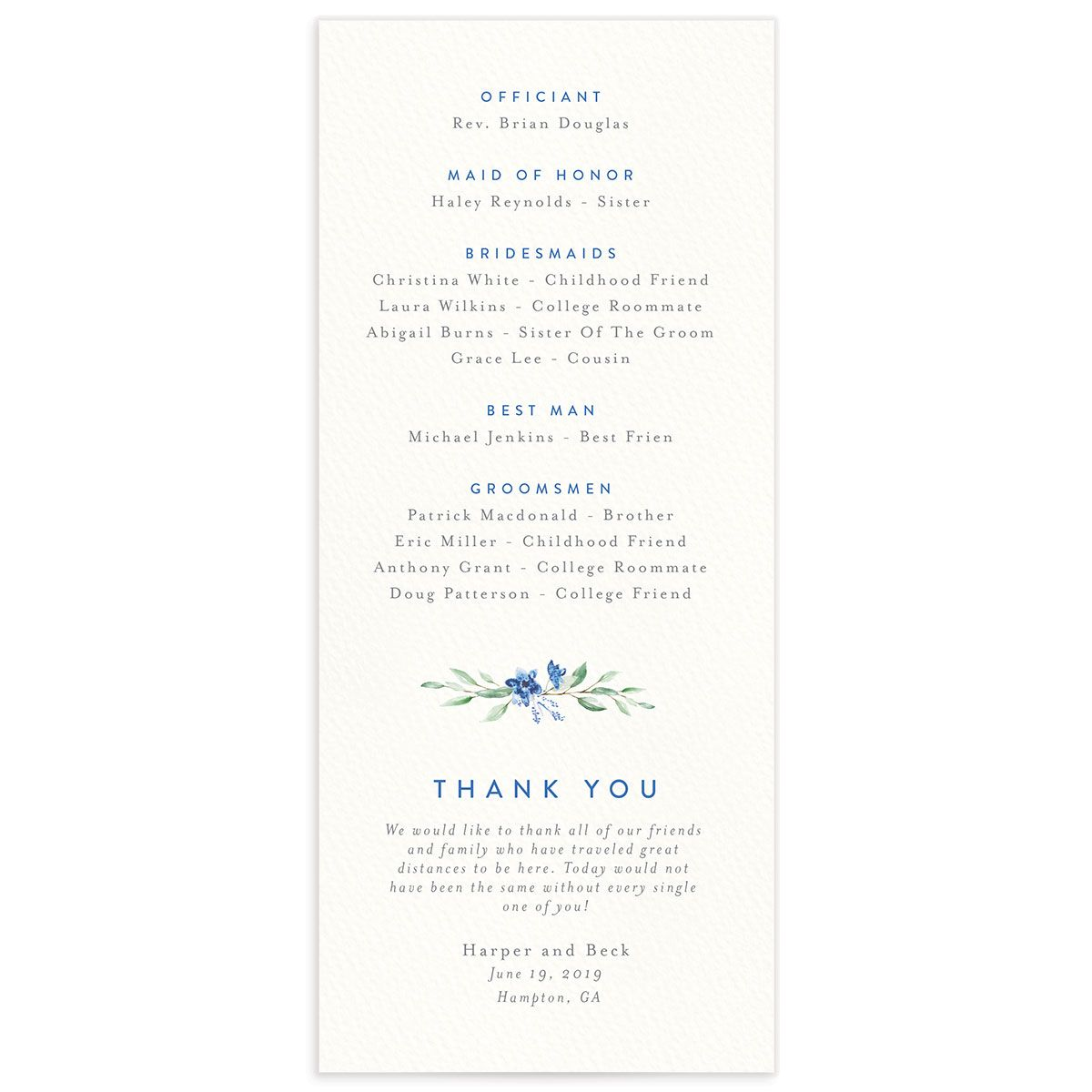 watercolor crest wedding programs in blue back
