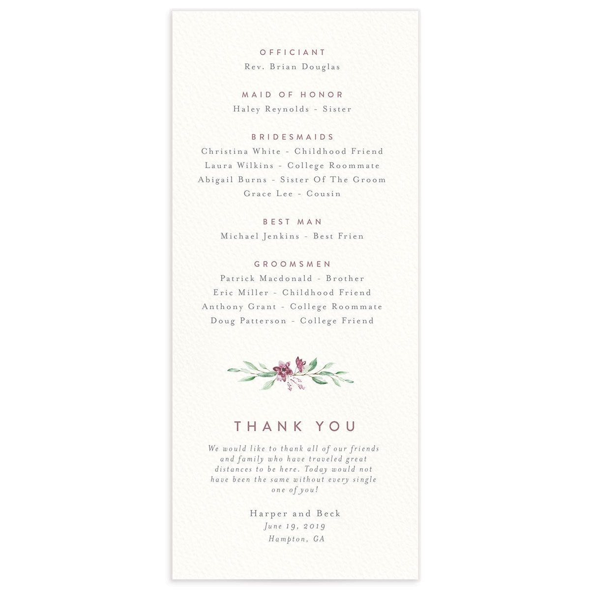 watercolor crest wedding programs in pink back