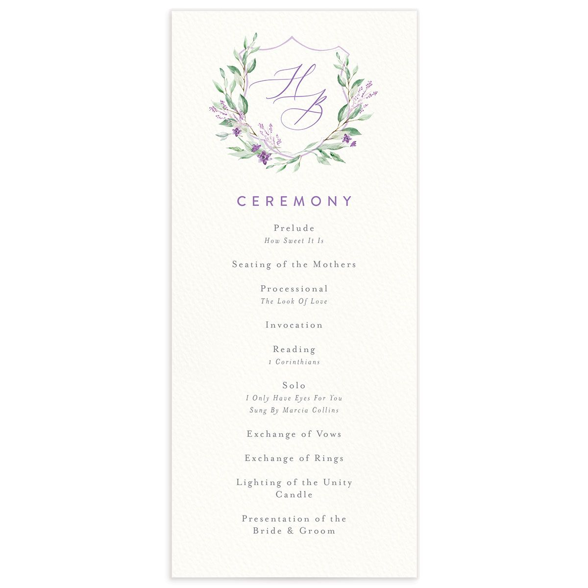 watercolor crest wedding programs in purple