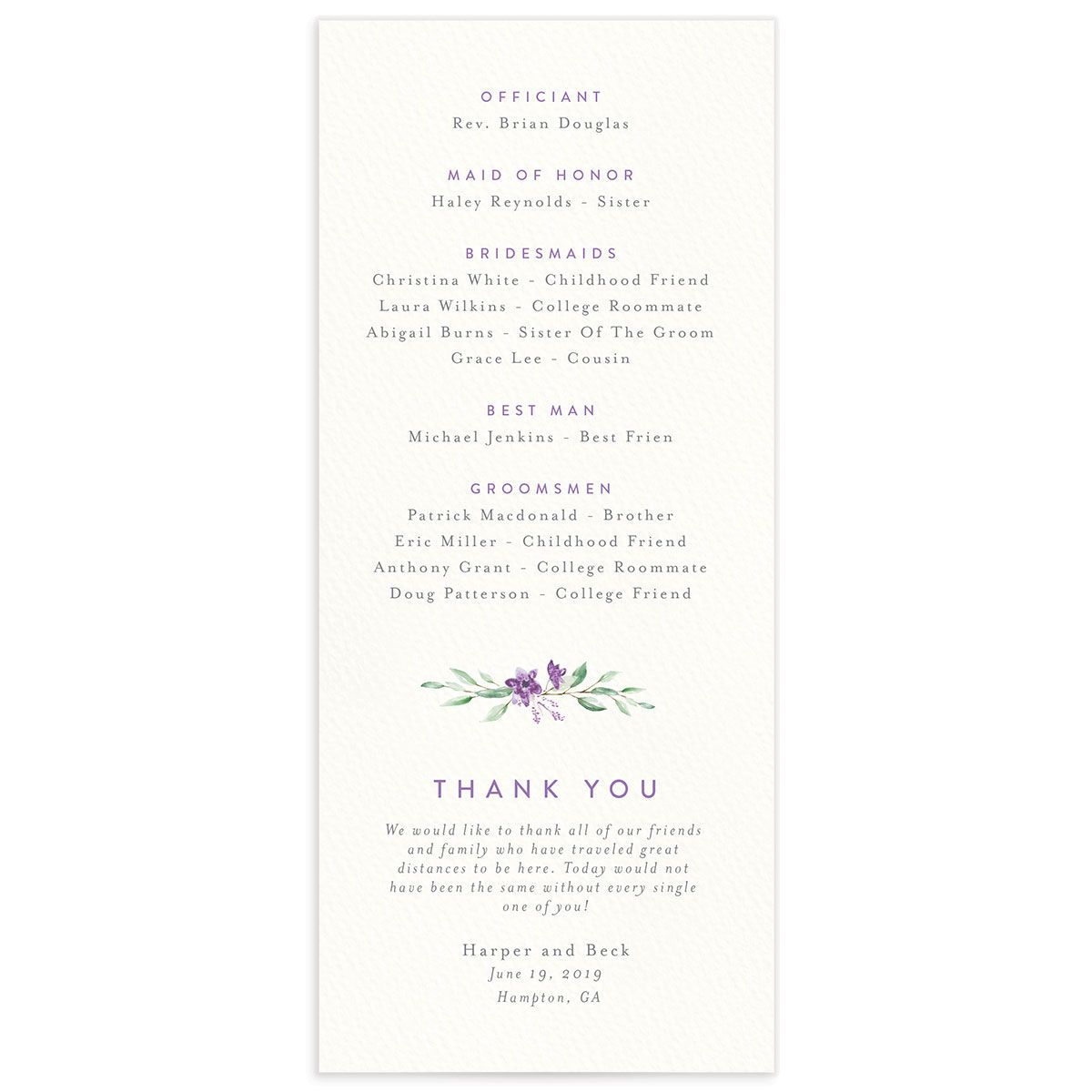 watercolor crest wedding programs in purple back