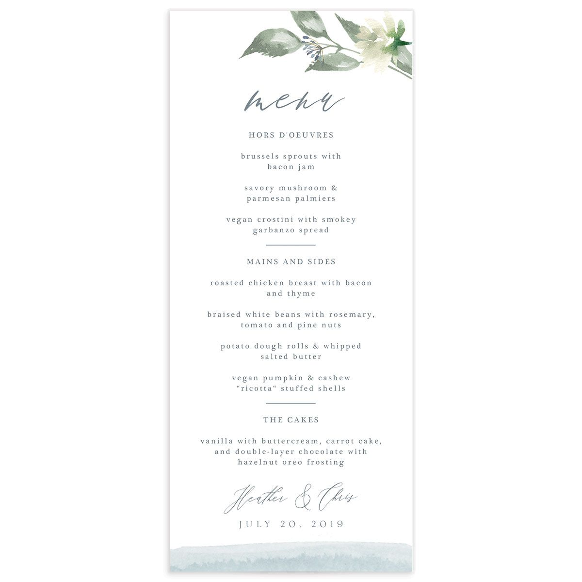 Dusted Calligraphy menus in blue