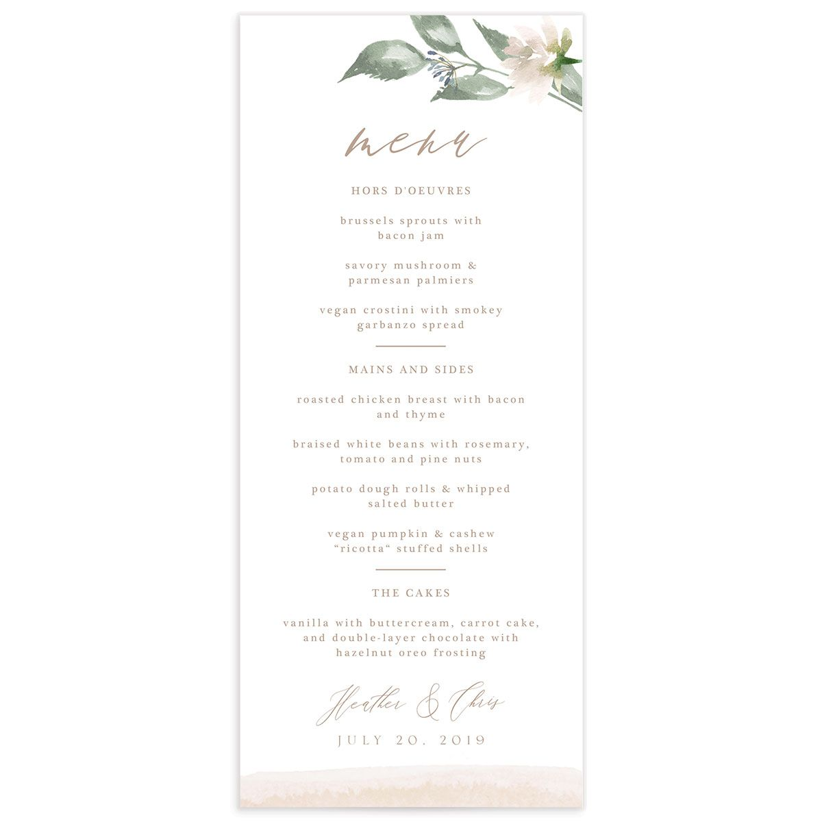 Dusted Calligraphy menus in pink