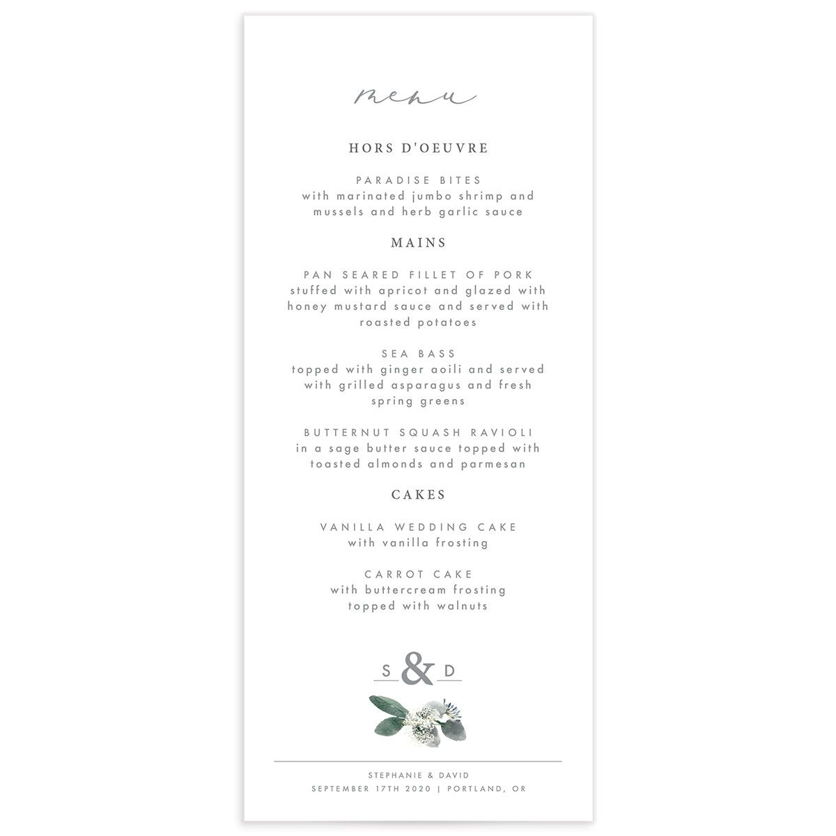 Elegant greenery wedding menus