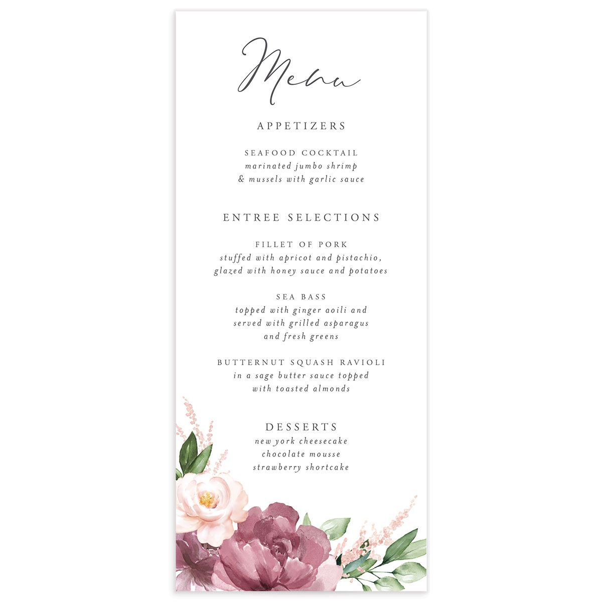 Beloved Floral Ceremony Menus in purple