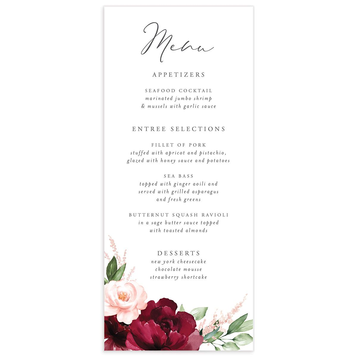 Beloved Floral Ceremony Menus in red