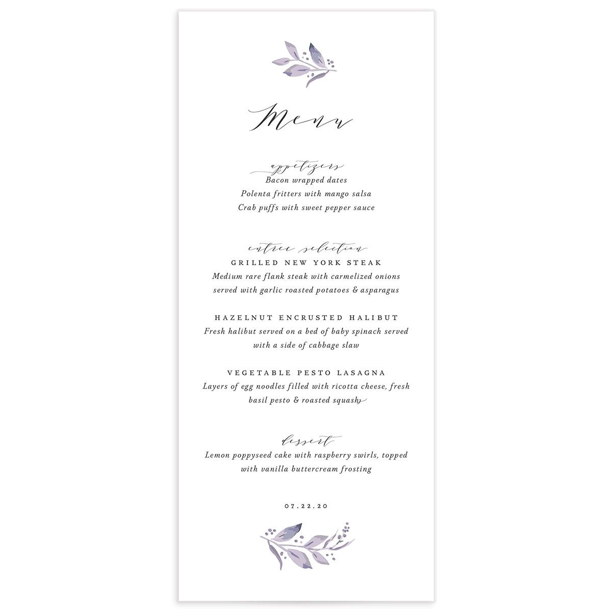 classic greenery wedding menus in purple