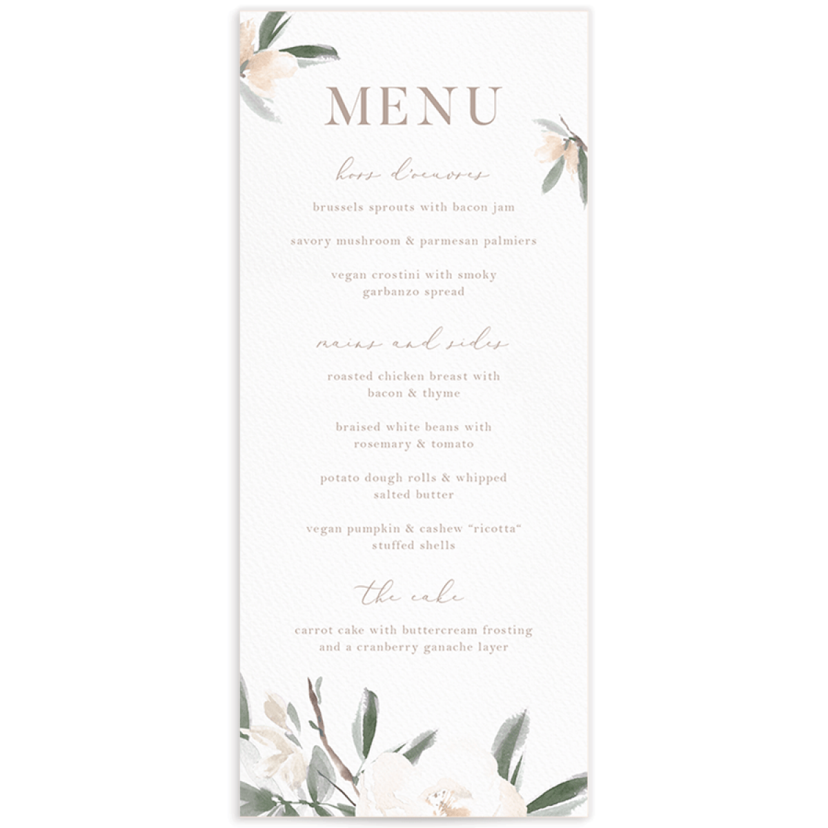 Elegant Garden menus in green