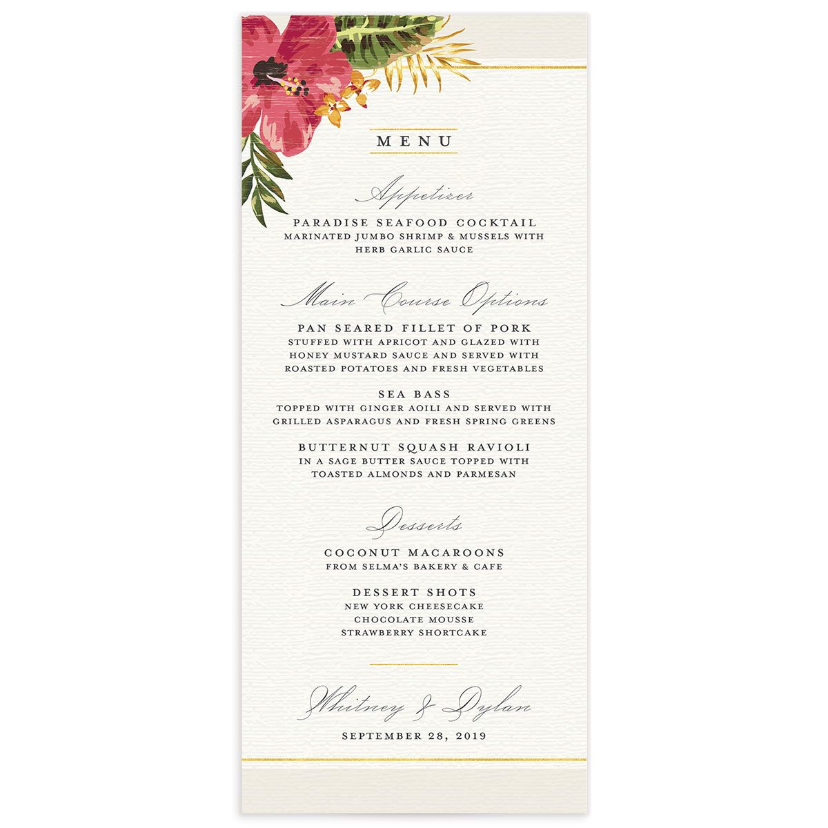 elegant paradise wedding menu in cream