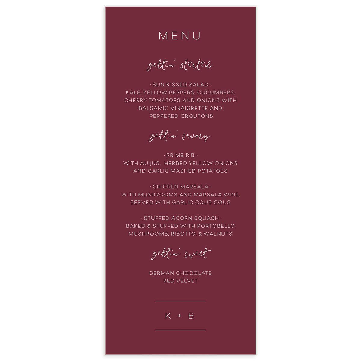 Modern Calligraphy Menus in red front