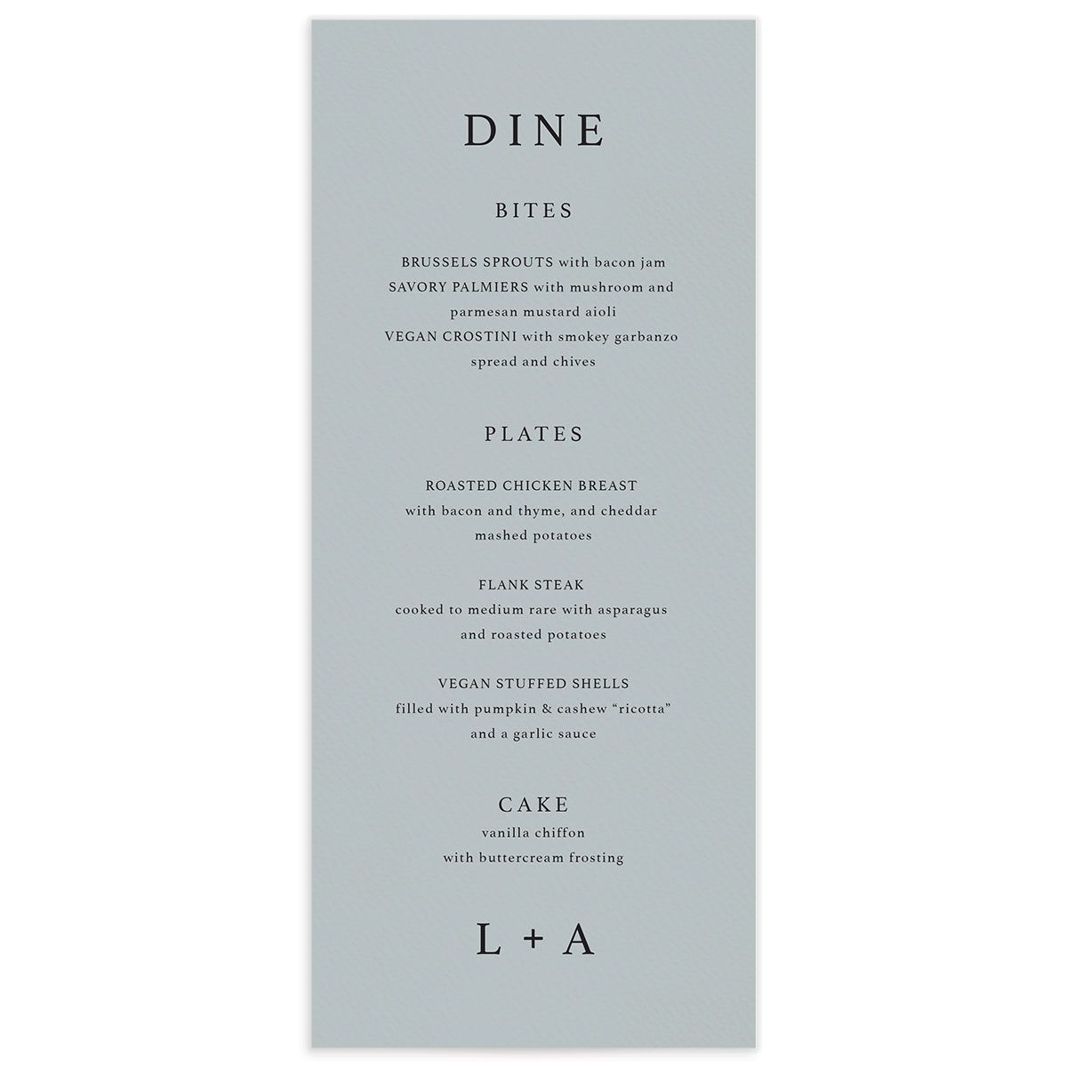 Natural Palette menus in blue front closeup