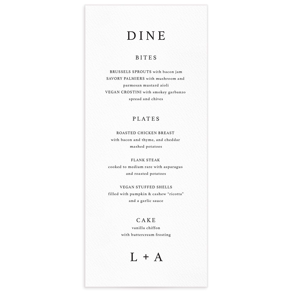 Natural Palette menus in white front closeup