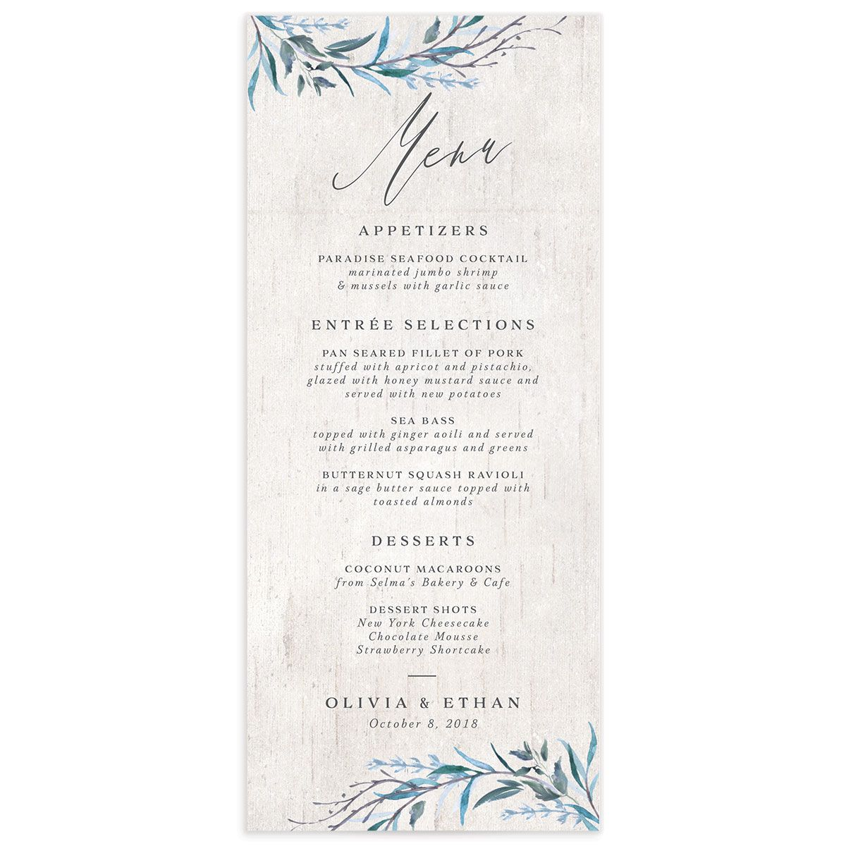Natural Laurel menu front
