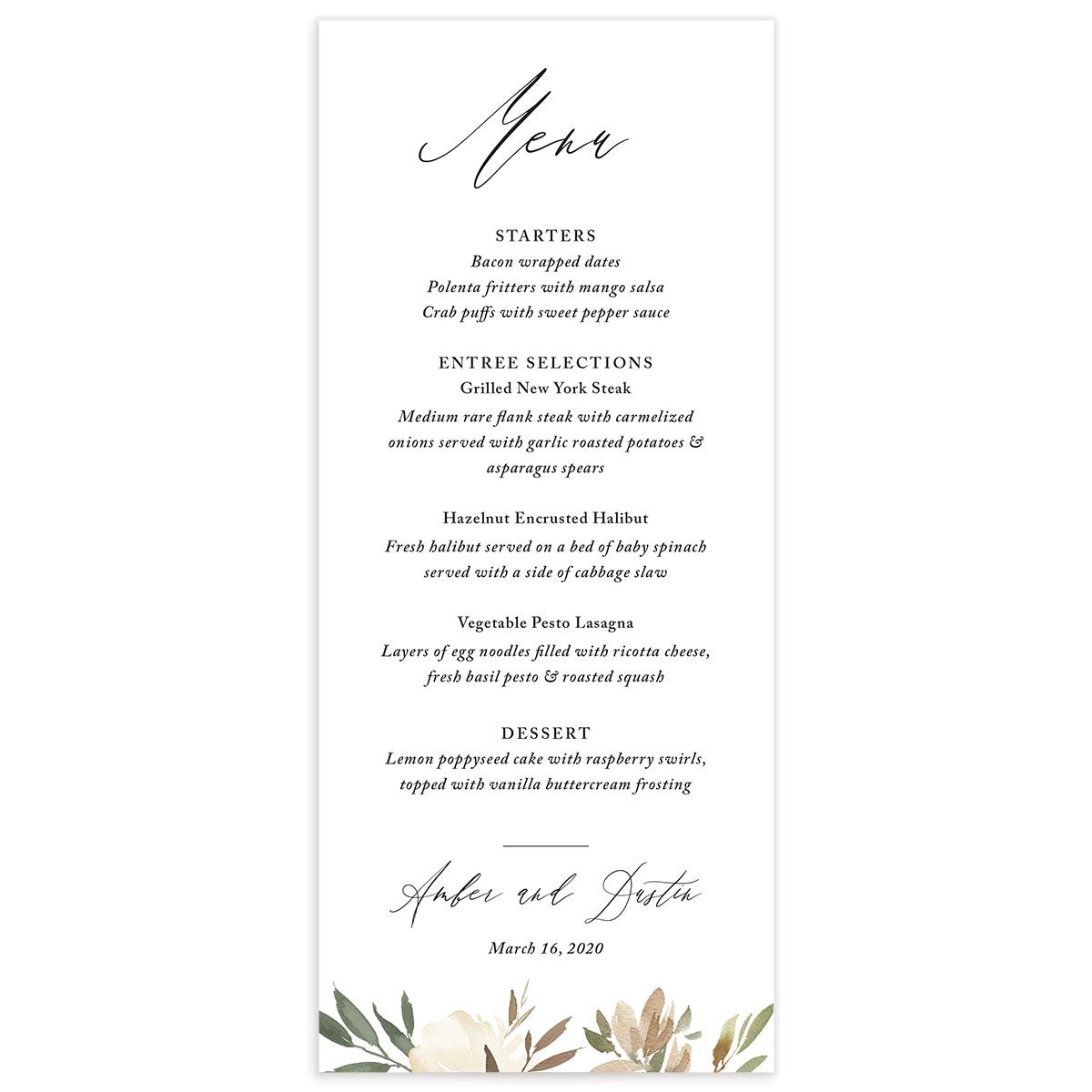 neutral greenery menus in green