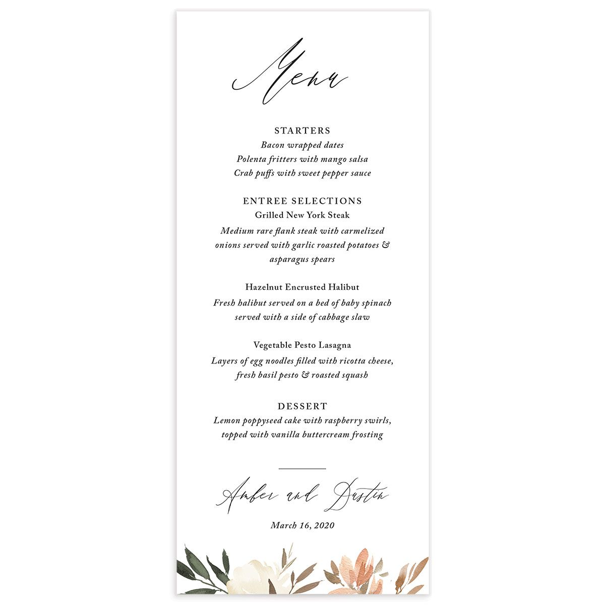 neutral greenery menus in orange