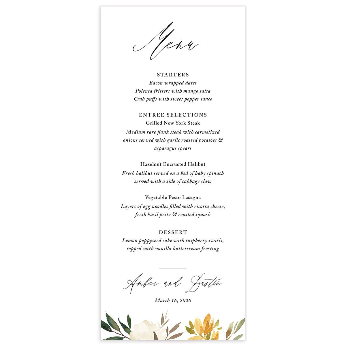 neutral greenery menus in yellow