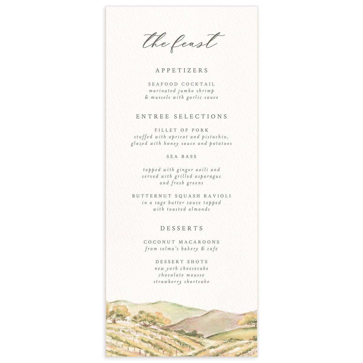 Painted Winery menu