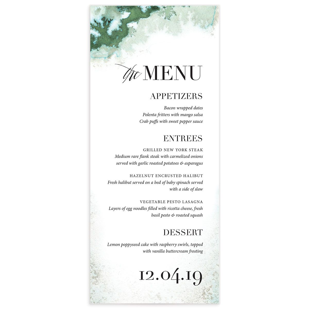 painted greenery wedding menus in green