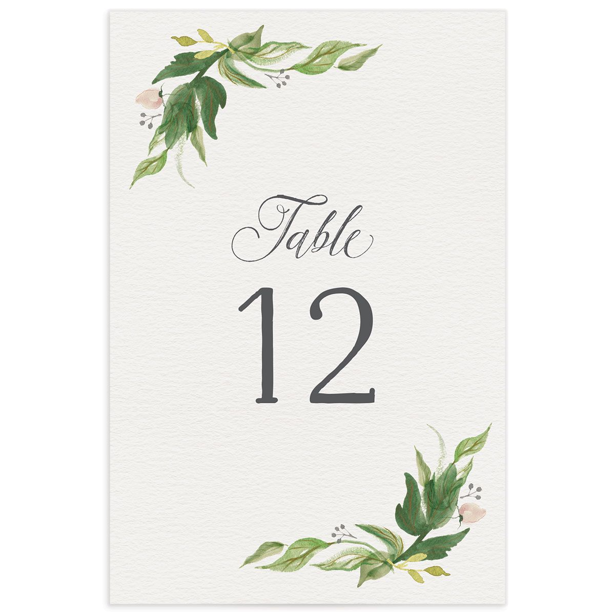 leafy wreath table numbers in green