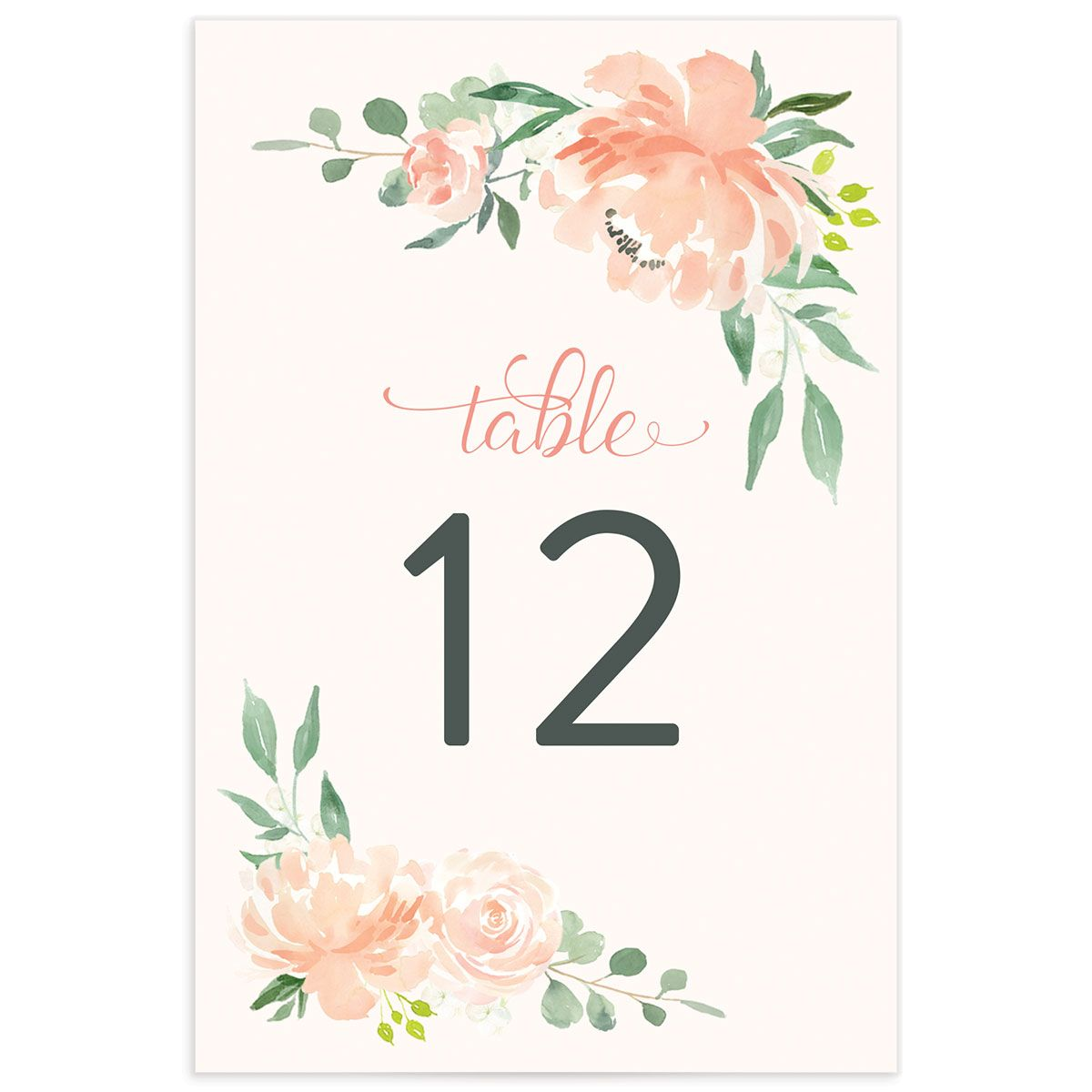 Romantic Floral Wedding Table Numbers