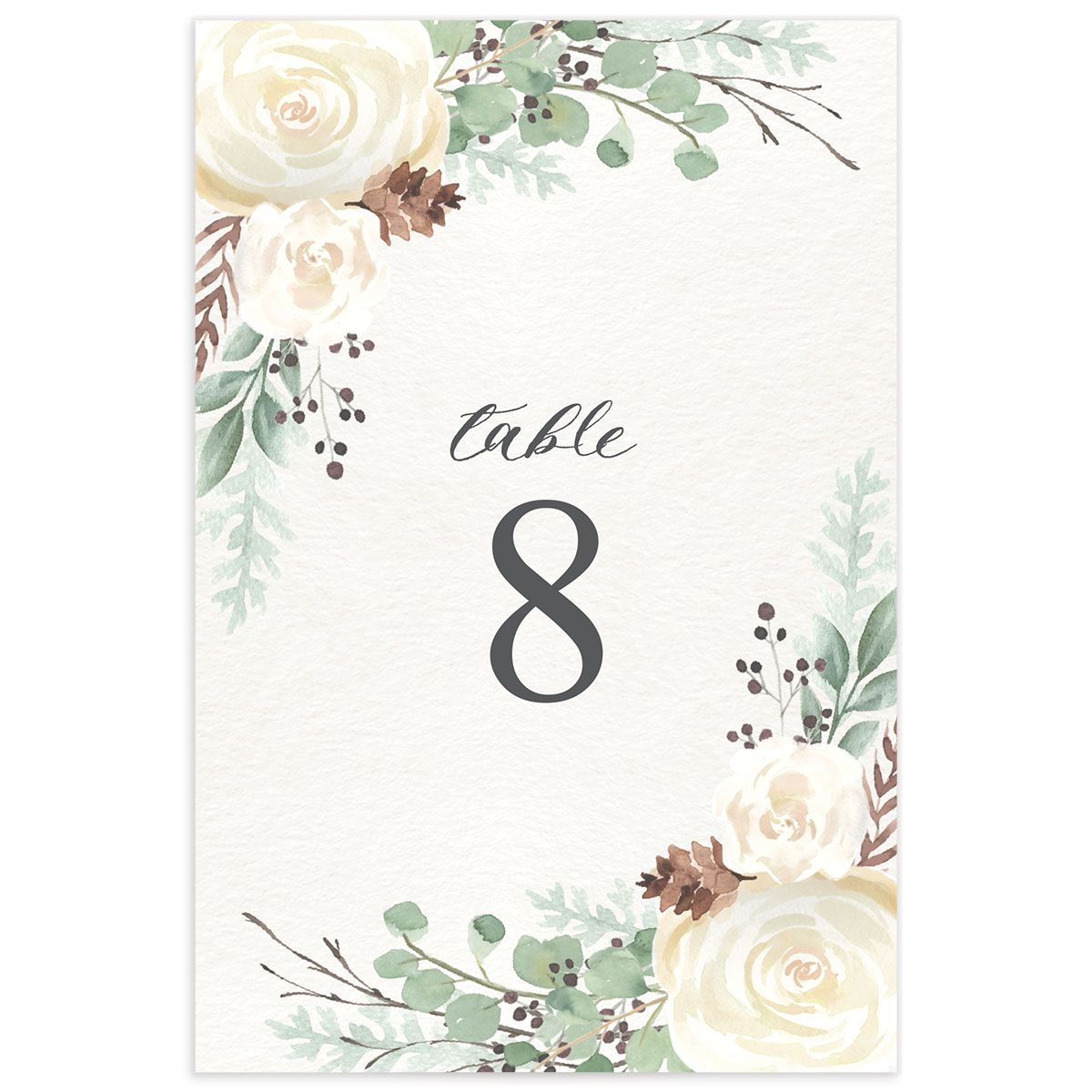 Rustic Botanical Table Numbers
