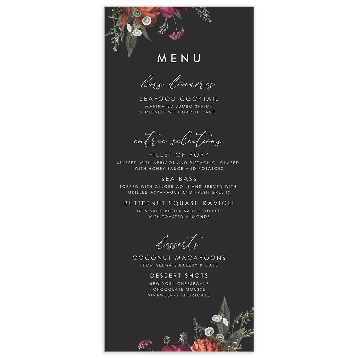 Blooming Botanical menu front