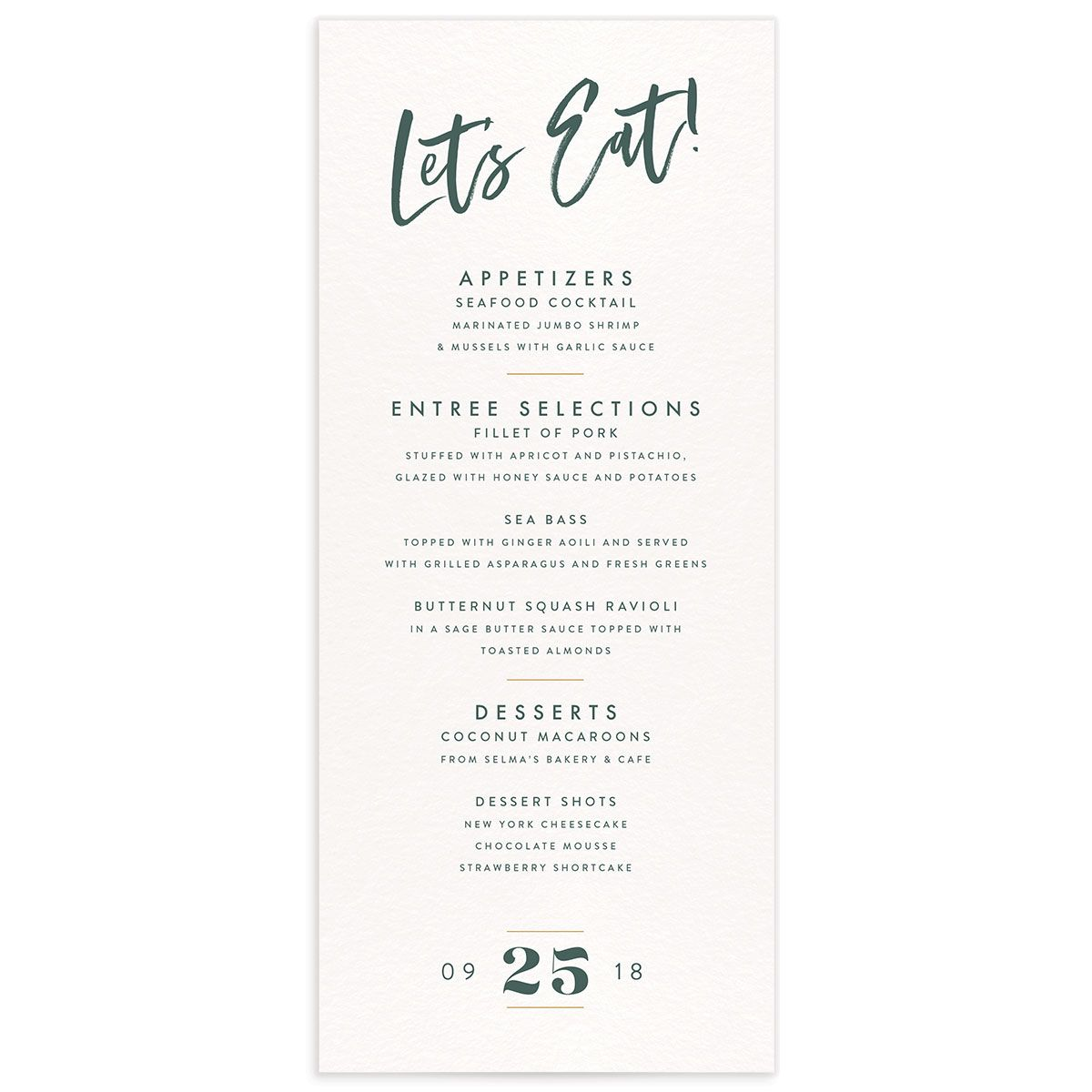 modern luxe wedding menus in teal