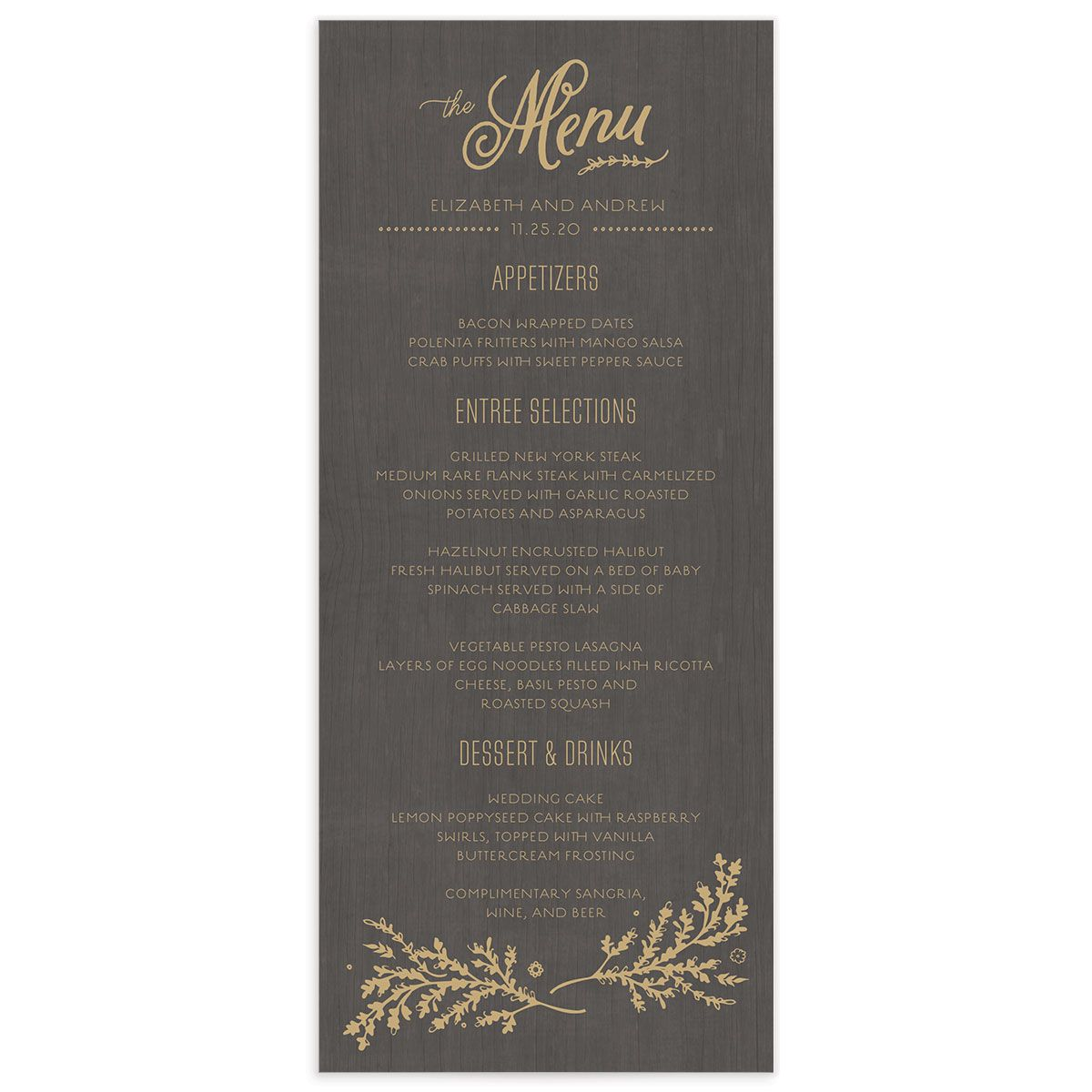 rustic chic wedding programs in gold