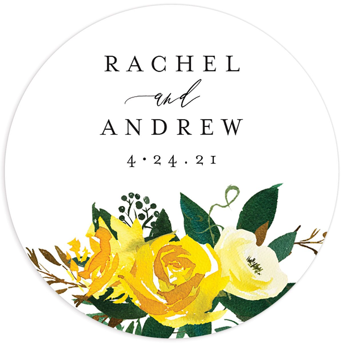 Cascading Altar wedding stickers in yellow