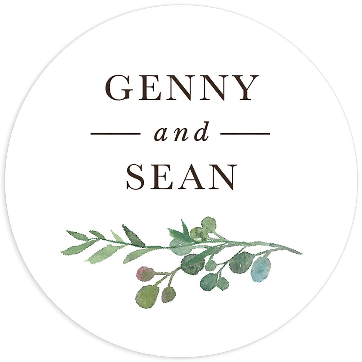 Leafy Hoops wedding sticker