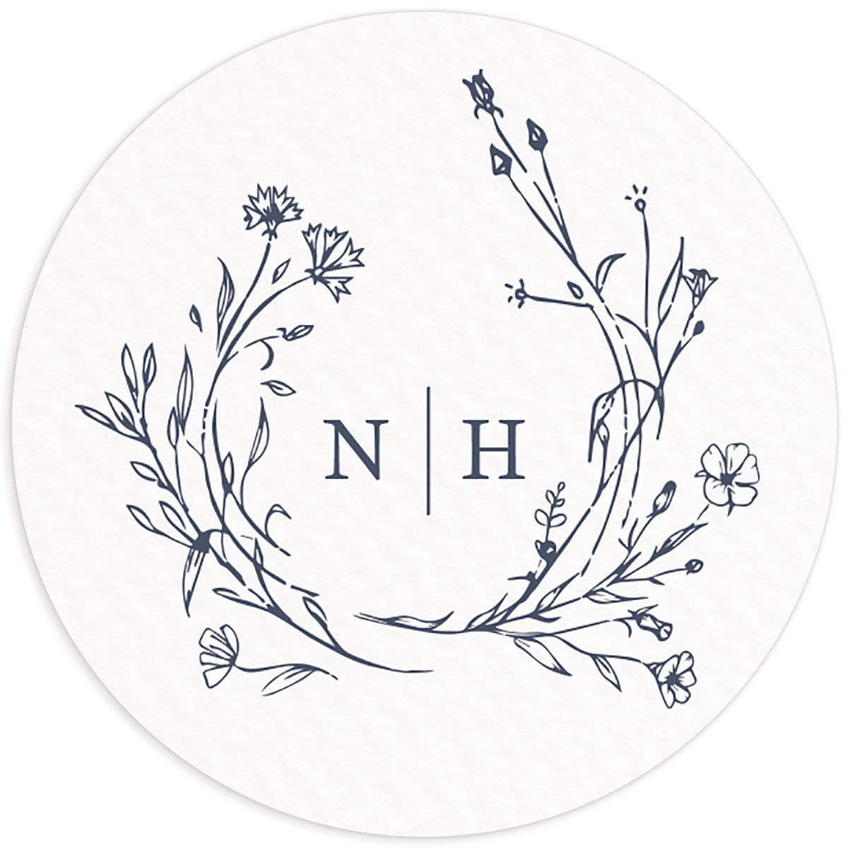 Natural Monogram wedding sticker in blue