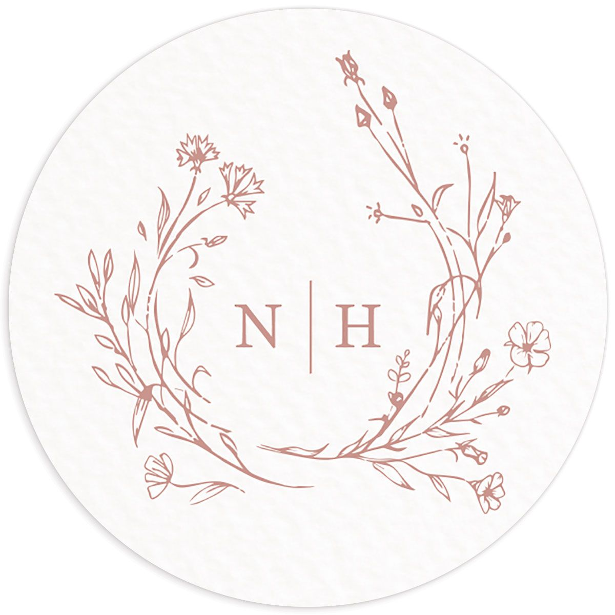 Natural Monogram wedding sticker in pink