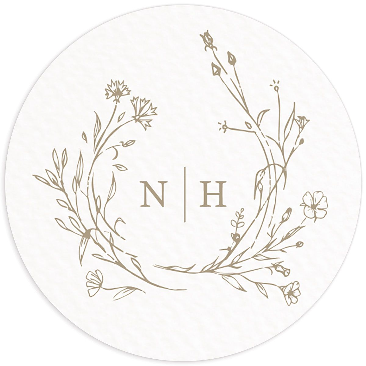 Natural Monogram wedding sticker in tan