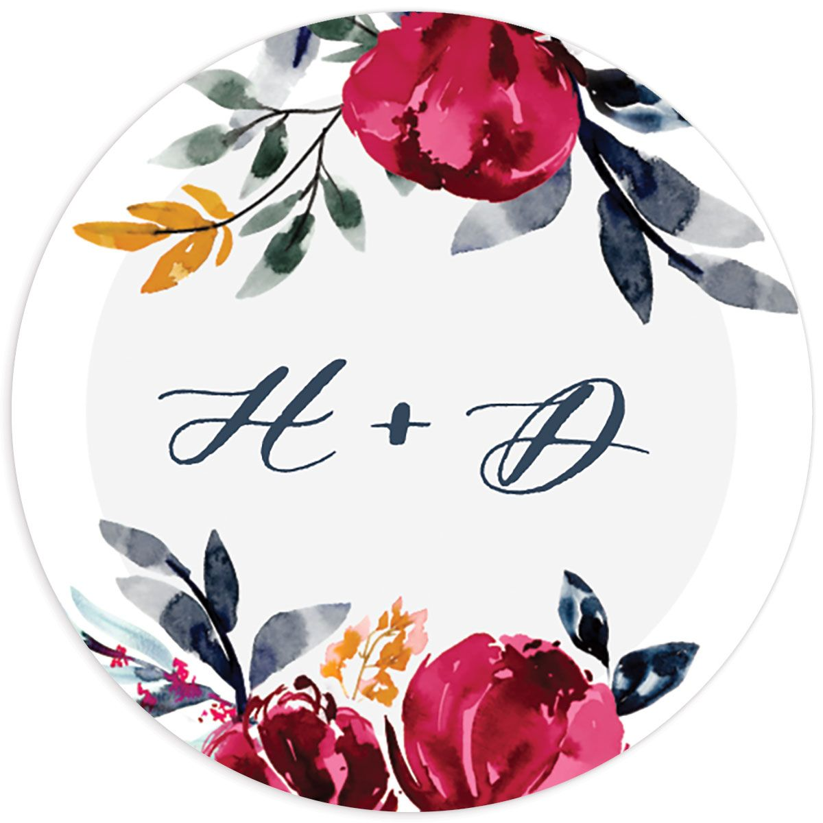 Painted Bouquet Wedding Stickers