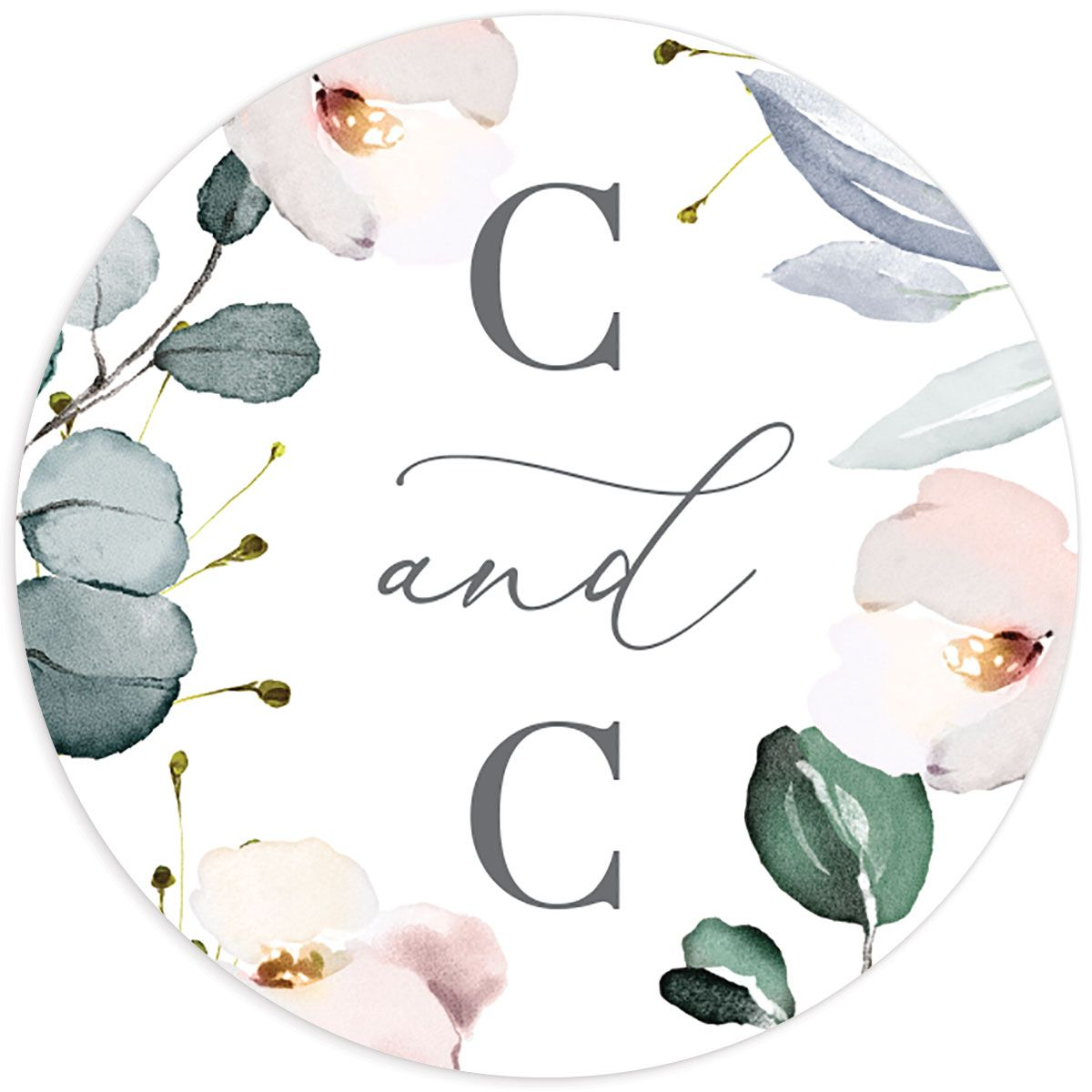 Romantic Calligraphy round wedding stickers in multi