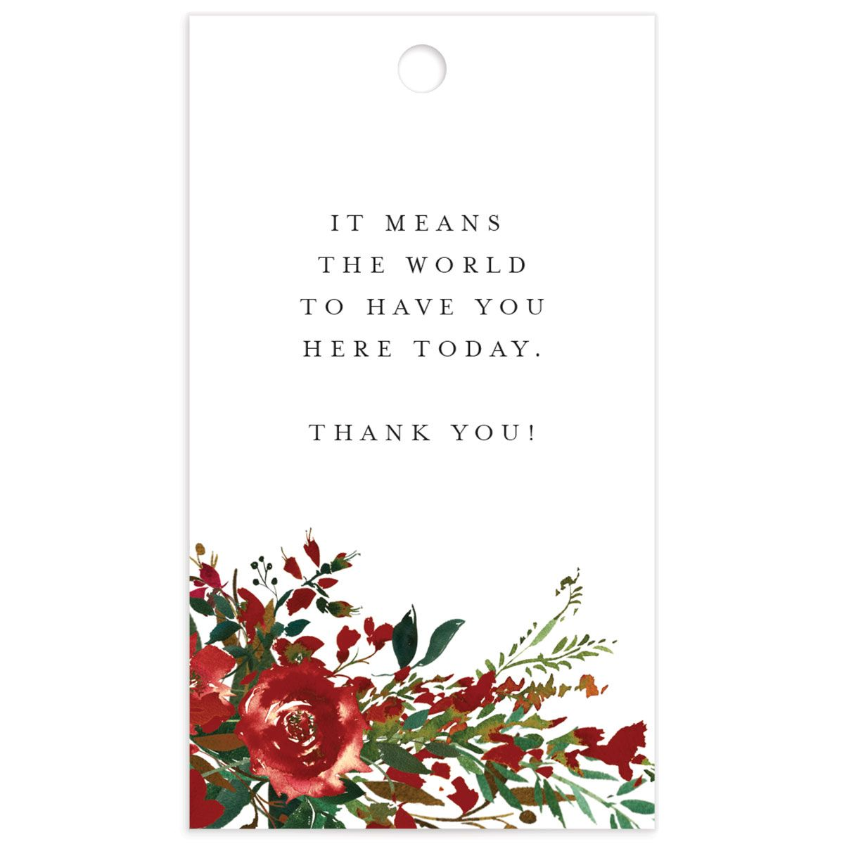 Cascading Altar wedding gift tags in burgundy front