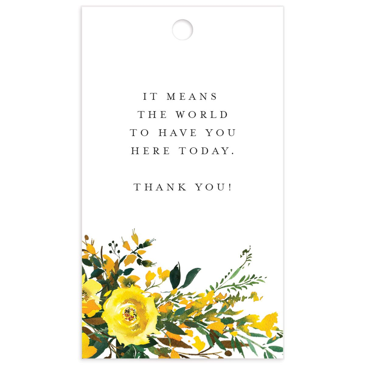 Cascading Altar wedding gift tags in yellow front