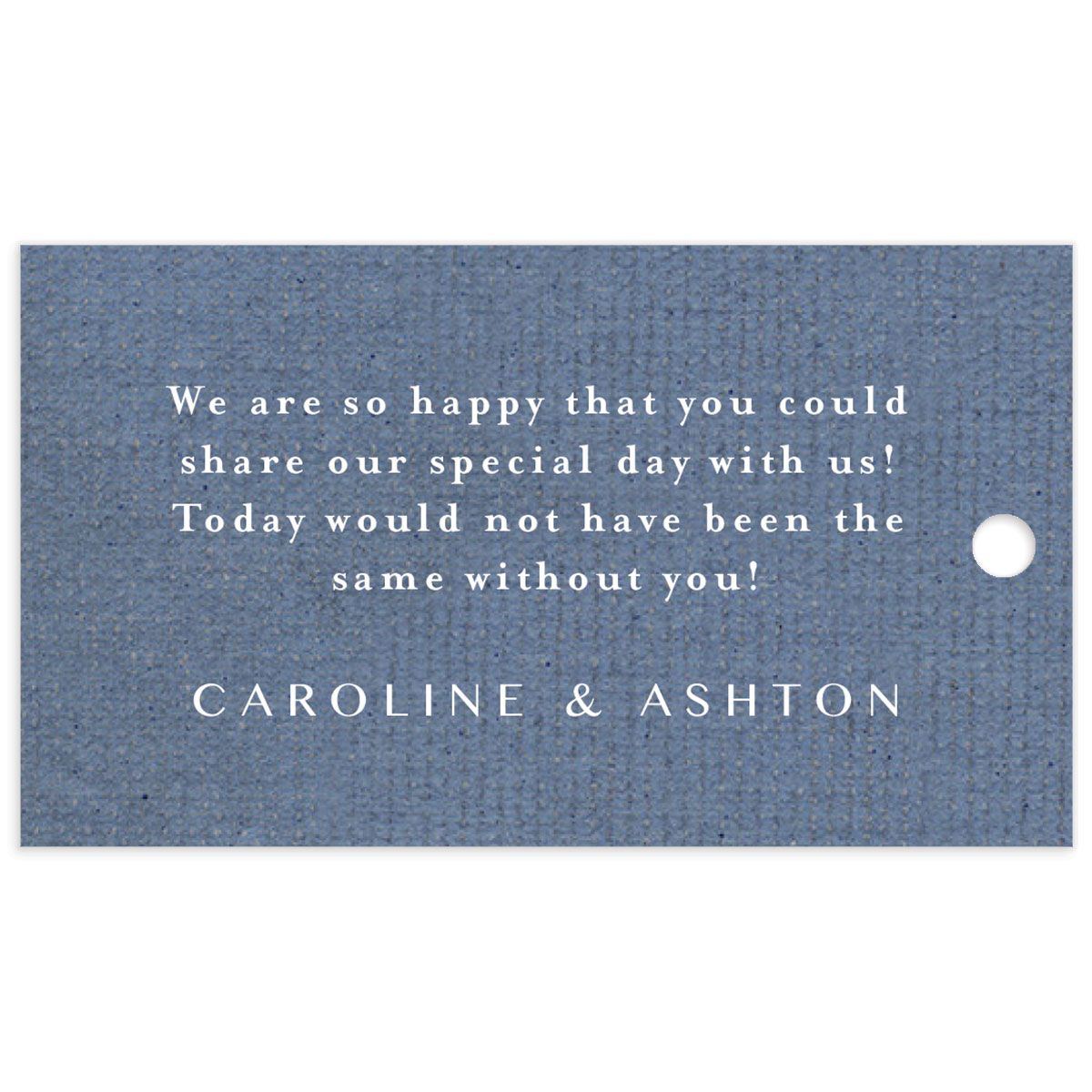 Coastal Love favor gift tags in blue back