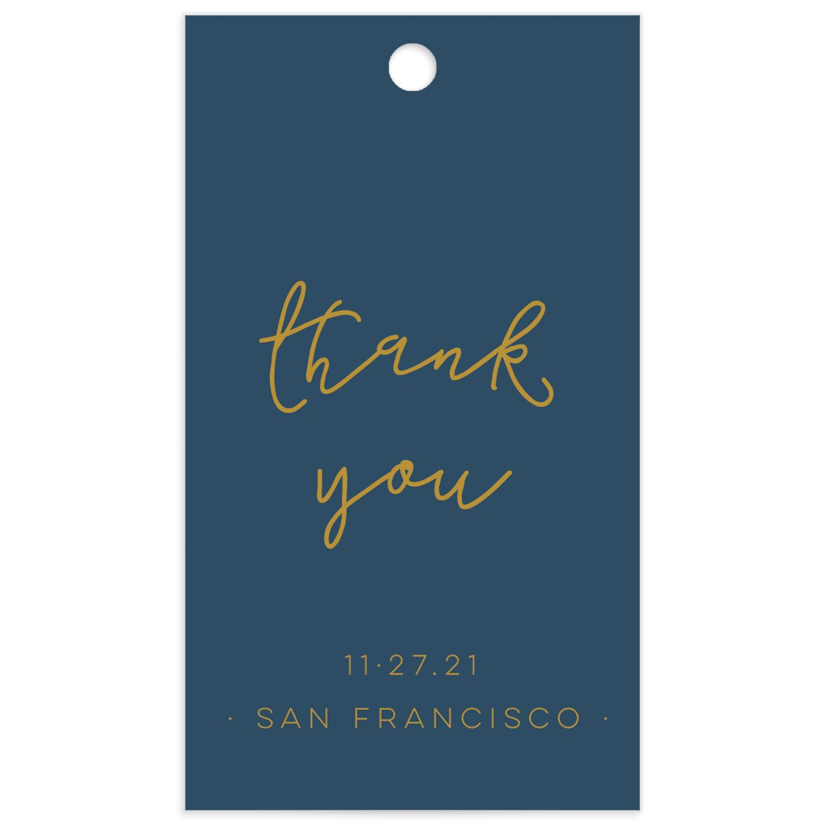 Gold Calligraphy wedding favor gift tag in blue front